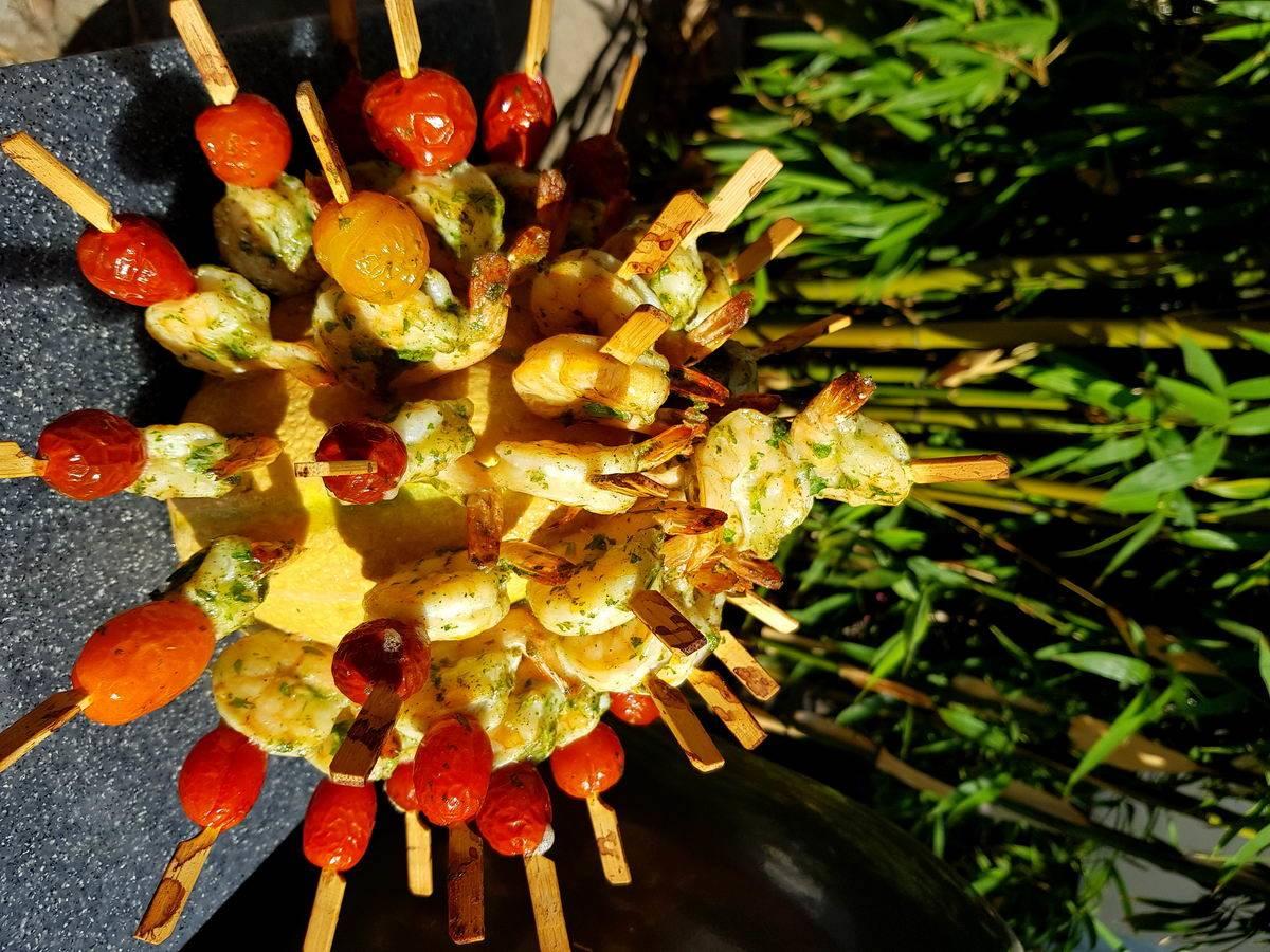 Grillezett  ráknyársak sárgadinnyegőzben sütve